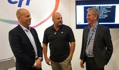 Robert Stake, Morgan Axelsson och Steve Green på EFI visade affärssystemet Radius för besökarna på Empack.
