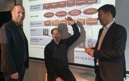 Erik Höglund, Ulf Dubois och Patrick Orcucci på StreamStone visar upp spagettin av olika processer och kanaler på en normal svenska kommunikationsavdelning.