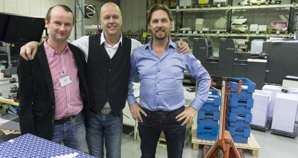 Johan Rise på Primotek, som levererar lösningar inom tryck till Strömberg, tillsammans med Rob Peart och Anders Molin.