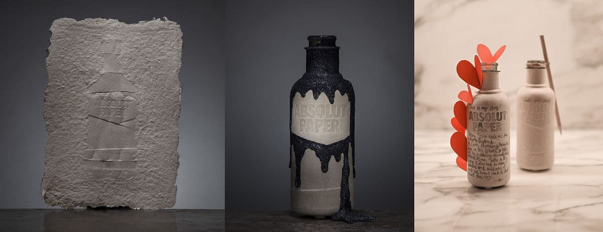 Tre tolkningar av Aboslut Paper, pappersflaskan Absolut Vodka försöker utveckla via Paboco.